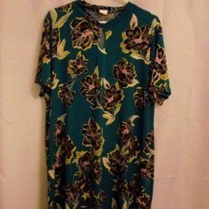 KIM & CO. Women's Midi dress, Aqua/flowers, XXL
